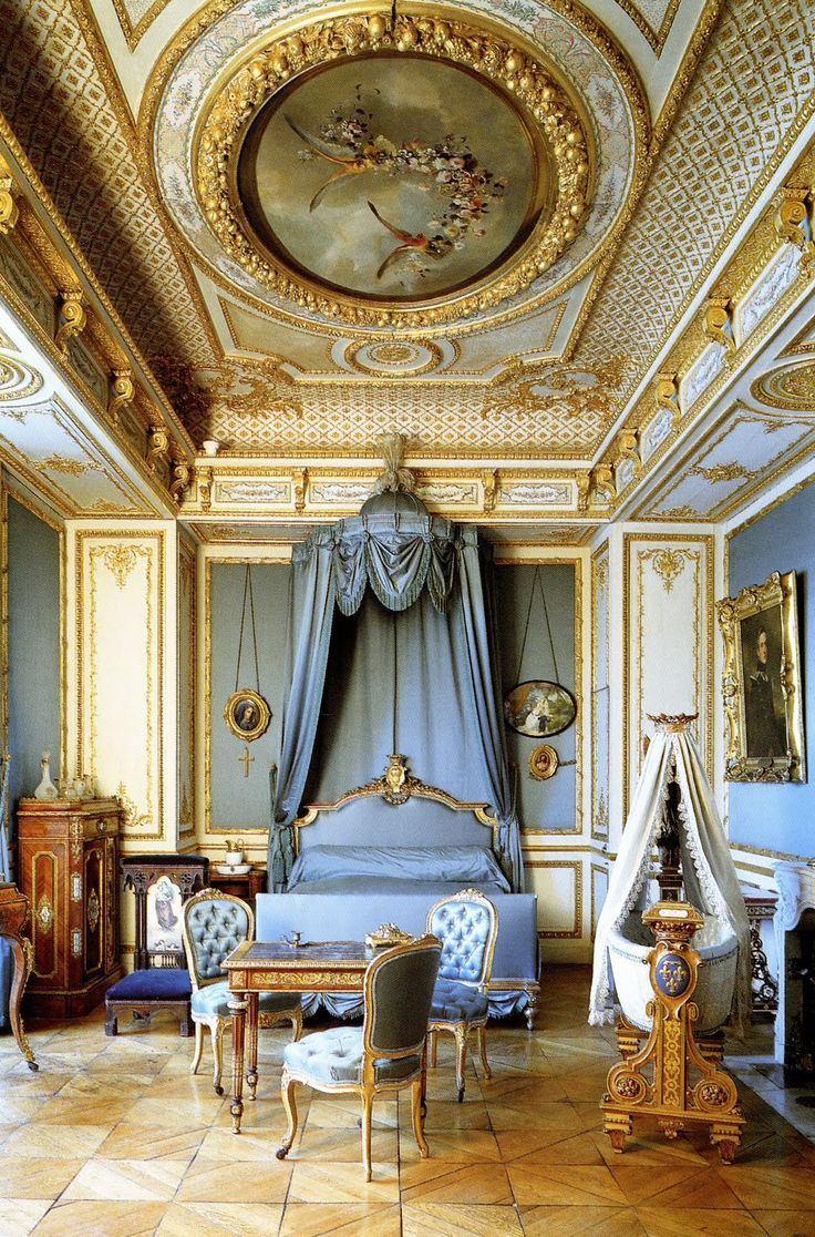 Bedroom of the Duchesse d'Aumale ~ Château de Chantilly, France. The original mansion was destroyed in the French Revolution & entirely rebuilt in 1875–1881 by Henri d'Orléans, duc d'Aumale (1822–1897) [Wikipedia]. It was also the reputed setting of the final extravagant banquet from the famous chef, Francois Vatel - hosted in honour of Louis XIV by Louis, the great Condé in April 1671.