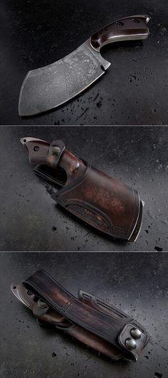 Custom Cleaver Knife and Sheath