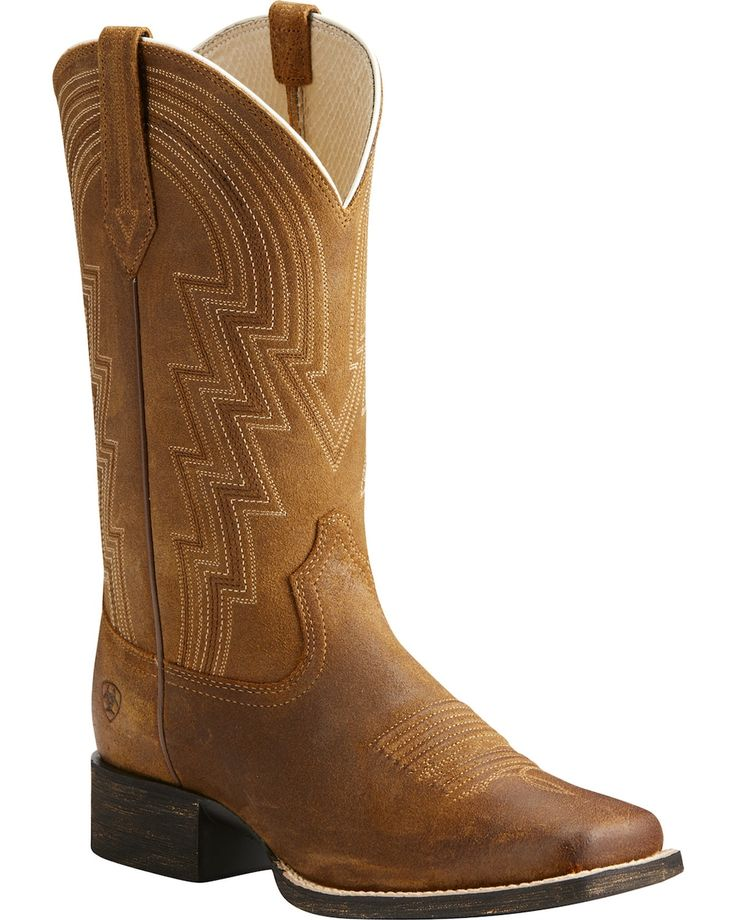 Ariat Women's Tan Round Up Walyon Old West Boots - Square Toe  | Boot Barn