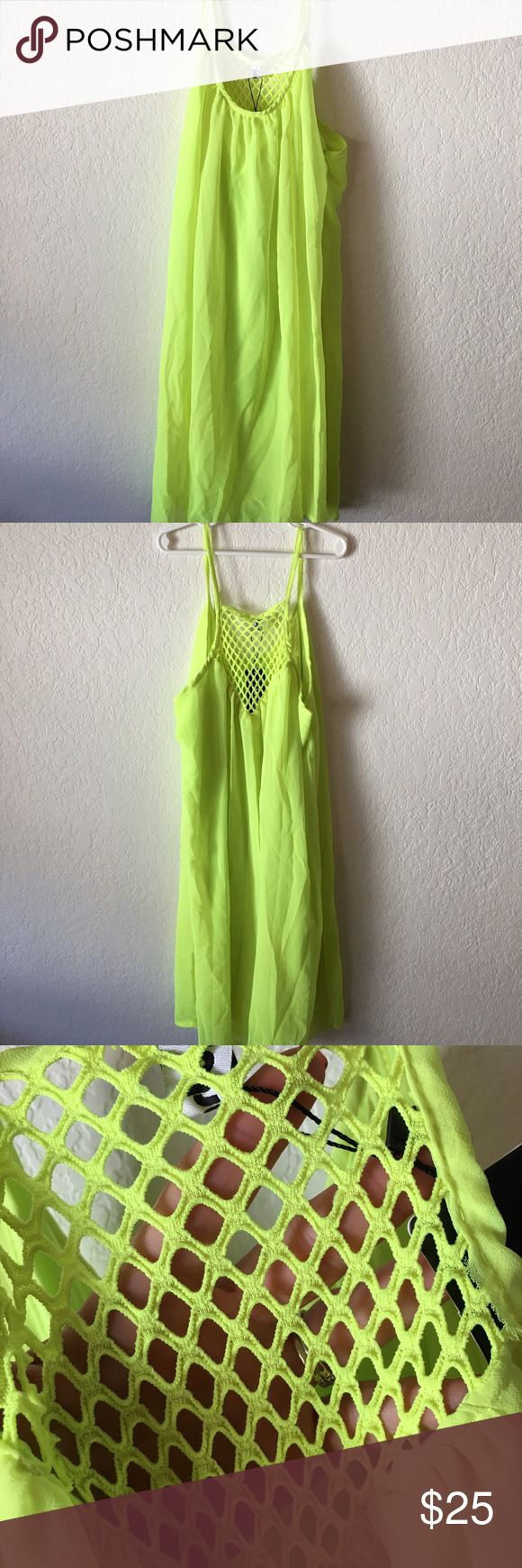 Neon Yellow Dress Small Neon Yellow Dress with mesh racerback detail. Dresses Mini