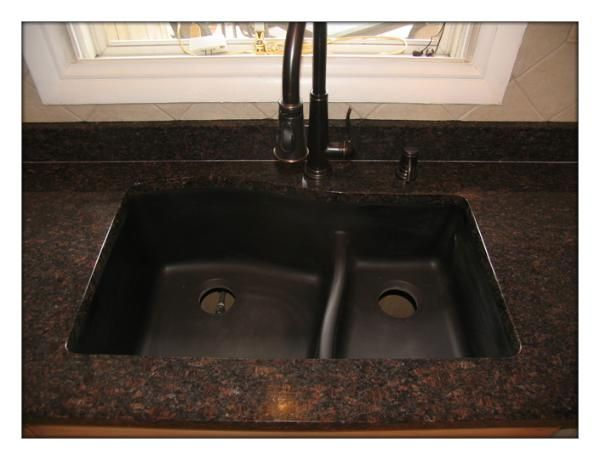 Brown Granite And Oil Rubbed Bronze Sink And Faucet