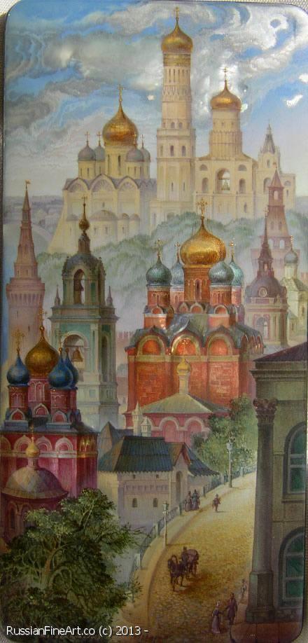 "Monashov Vladimir ""Varvarka Street"" - box, Fedoskino lacquer painting technique…"