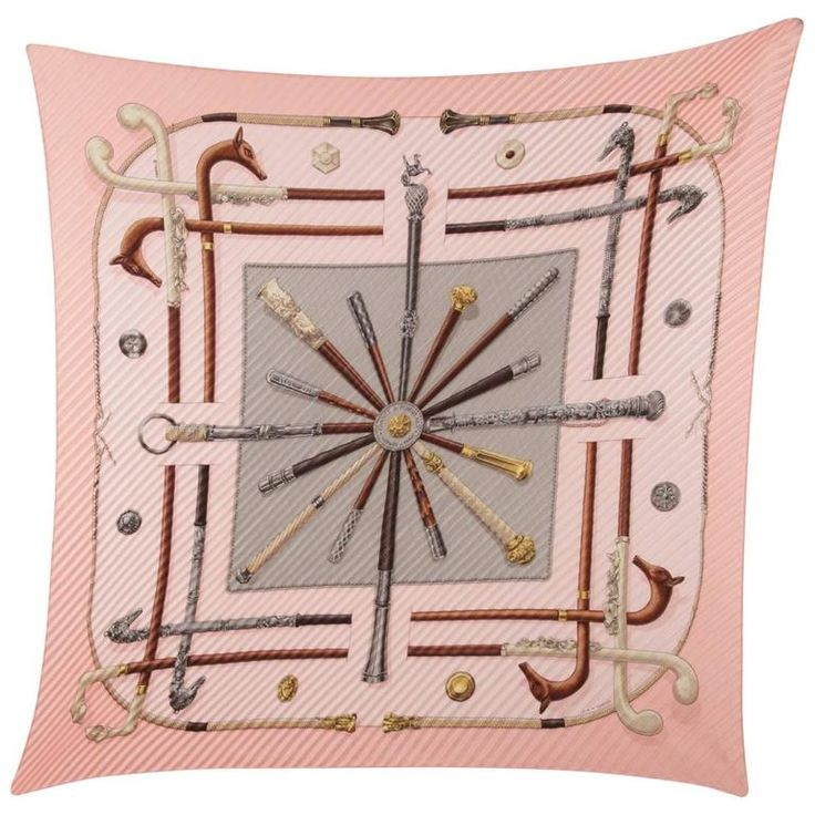 HERMES PARIS Pink Silk PLEATED Plisse SCARF Cannes Et Pommeaux w/ BOX | From a collection of rare vintage scarves at https://www.1stdibs.com/fashion/accessories/scarves/
