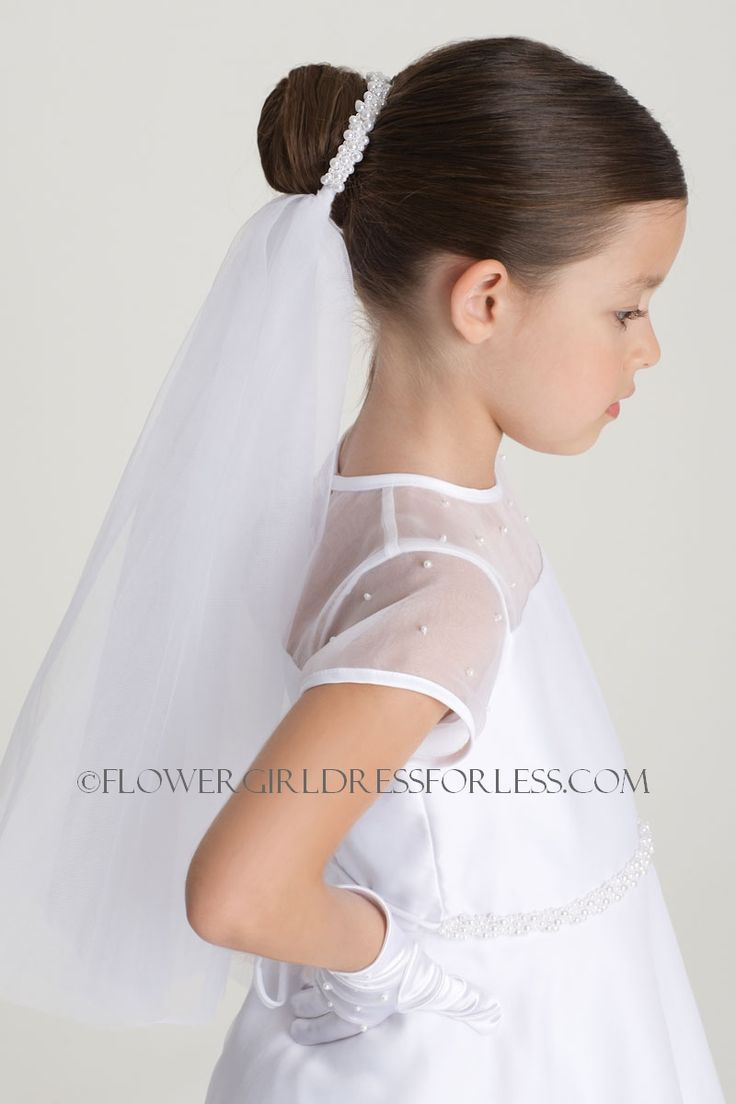 Communion Us Angels Pearl Headpiece with Attached Veil- Style V-60 - Hair Bun Wraps - Flower Girl Dress For Less