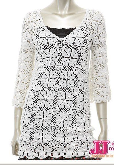 Long White 3/4 Length Sleeve Top with Square Motif free crochet graph pattern