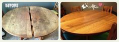 Before and after: 1.  Danish Oil 2.  Murphy's Oil  Soap 3.  fine steel wool 4. Howard's Feed -N- Wax  and 5. elbow grease.  http://www.thehipsoiree.com/wp-content/uploads/2013/02/Refurbish-supplies.jpg