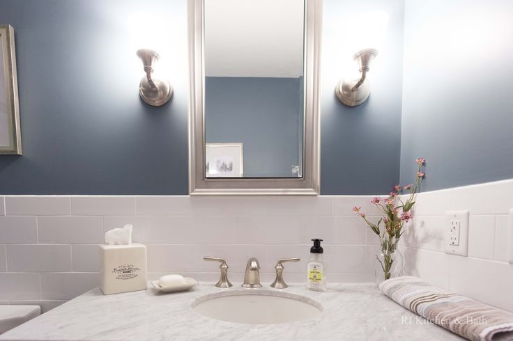 A Simply Charming Bathroom Design by #RIKB #BathroomDesign #Vanity #GlassEnclosure #WalkInShower #Sconces #Blue