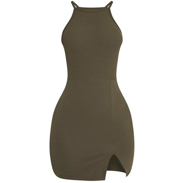 Aniqah Khaki High Neck Split Detail Bodycon Dress ($18) ❤ liked on Polyvore featuring dresses, brown cocktail dress, body conscious dress, brown dress, body con dress and high neckline dress