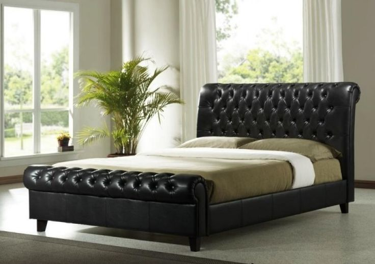 Richmond sleigh bed in a modern brown faux leather on wooden legs. Sturdy and stylish traditionally tufted button feature to scroll head and foot ends.