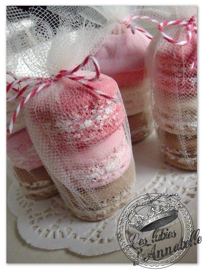 Lot 4 macarons en plâtre teintés dans la masse Style Shabby : Accessoires de maison par leslubiesdannabelle