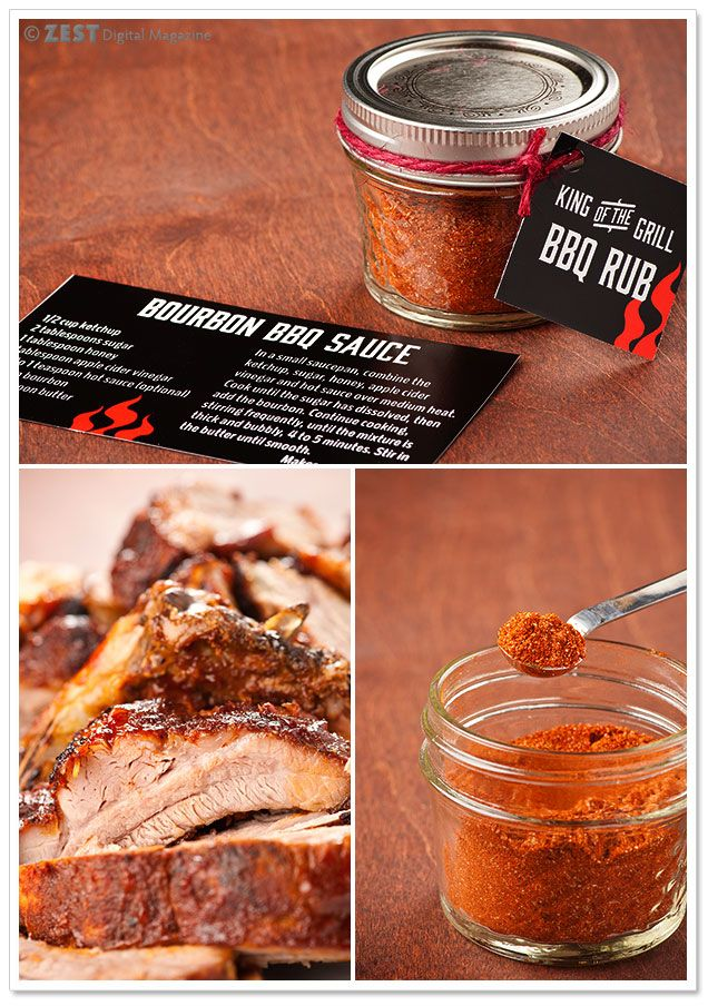 Smoky BBQ Rub What you'll need ~ 2 teaspoons smoked paprika 4 tablespoons sweet paprika 1 tablespoon salt 3 tablespoons brown sugar 2 teaspoons dry mustard 1 teaspoon black pepper 1 tablespoon garlic powder 2 teaspoons onion powder 1. Combine all ingredients in a small bowl and mix well.  2. Transfer the rub mix to a small mason jar or other airtight container.  3. Attach gift tag!