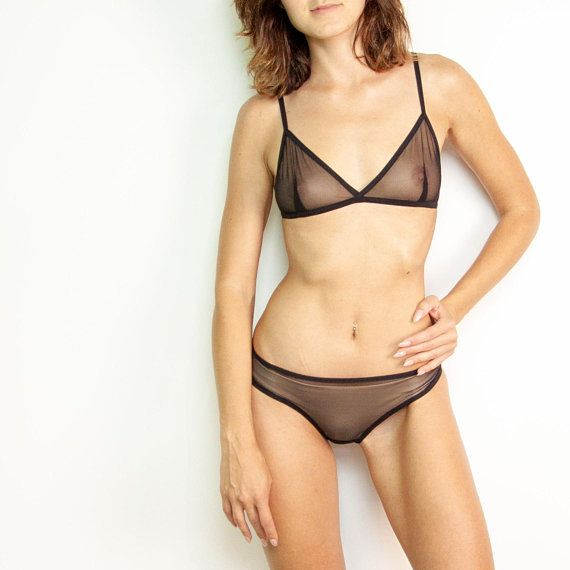 a4dd337e2ae Black mesh sheer lingerie set Handmade bra Soft cup A B C Hot sexy bikini  size XS S M L Bralette and extreme bikini Seethrough panties Lace