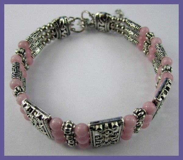 VERY PRETTY AGATE & SILVERPLATE BRACELET/BANGLE  NATURAL AGATE GEMSTONE BRACELET   FROM GEMROCKAUCTIONS.COM