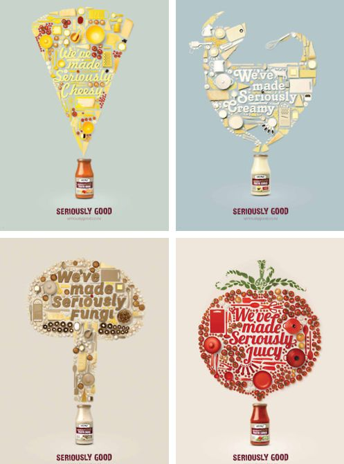 This design is for Heinz's pasta sauces and products. I think it's designed really cleverly and it's so creative. They took the ingredients of the sauce and made them the shape of how the sauce tastes, like the pasta that's cheesy is shaped like cheese. I think collages made up of parts of a whole to create the image are really interesting and eye catching.
