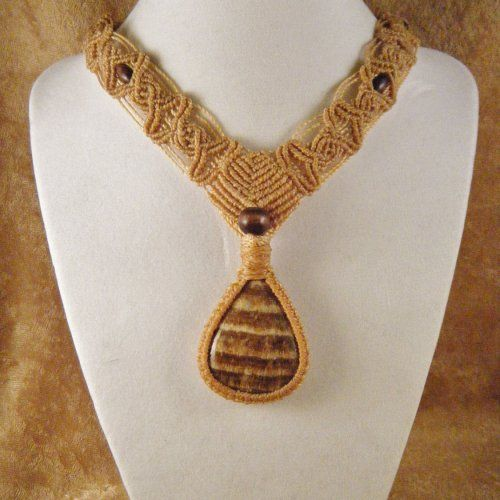 Tribal Brown Aragonite Macrame Necklace, OOAK | beckinka - Jewelry on ArtFire