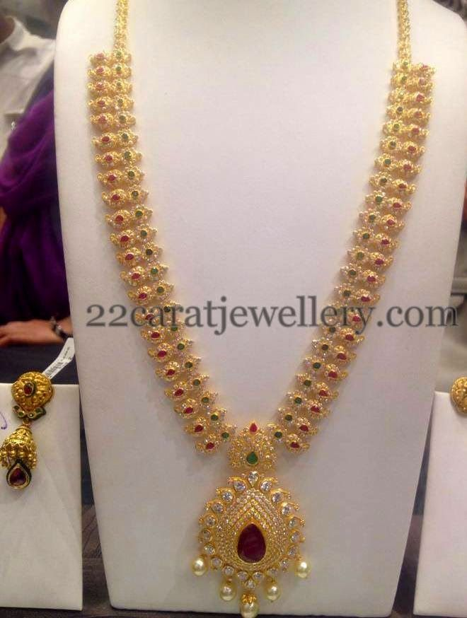 Jewellery Designs: CZ Long Mala with Gemstones