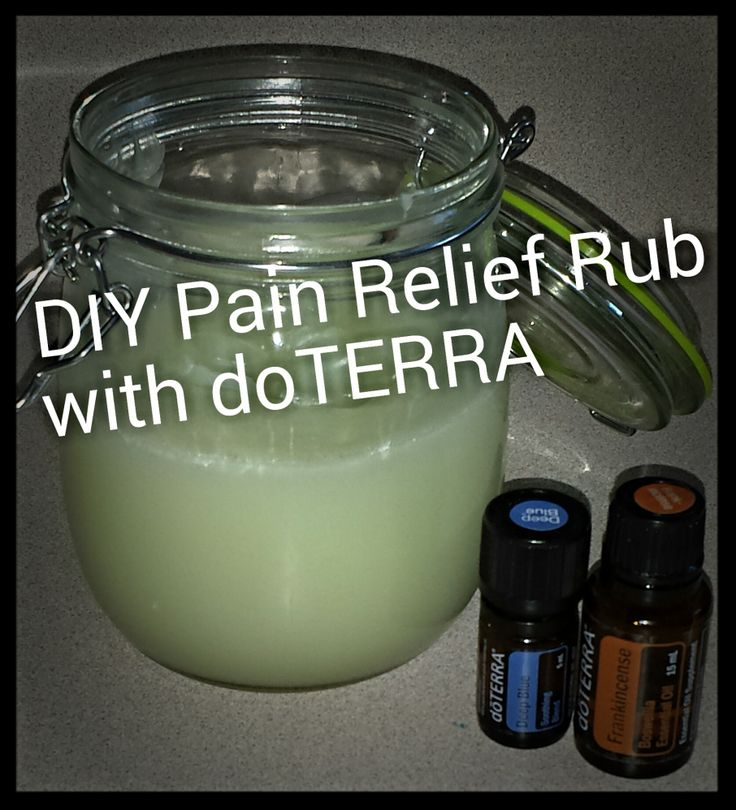 DIY Pain relief rub using doterra essential oils, deep blue and frankincense. May help reduce pain.