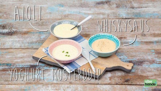 Zelf sausjes maken voor bij de gourmet? Geen probleem: in deze video zie je hoe je zelf aioli, whiskysaus en yoghurt-mosterddip maakt! Eet smakelijk!