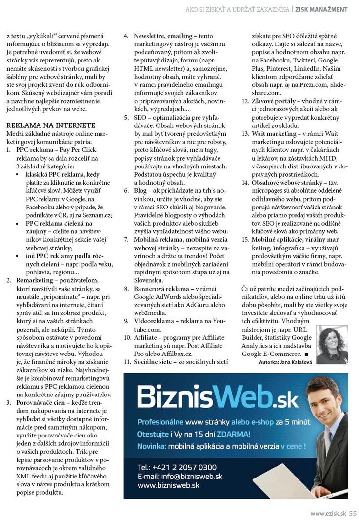 Druhá strana článku o podnikaní na internete z časopisu Zisk. V akej oblasti začať podnikať? Ako na tvorbu www stránky či tvorbu eshopu? Tvorba www stránok, tvorba obchodu.