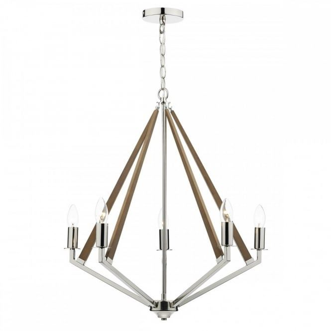 Dar Hotel HOT0538 5 Light Ceiling Light In Polished Nickel and Wood