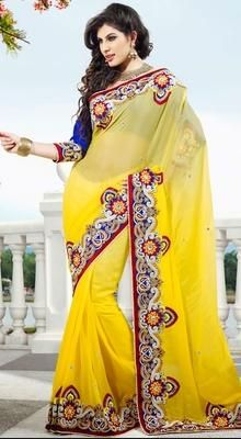 Aesthetic Yellow Embroidered Saree