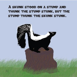 skunk tongue twister lunch note