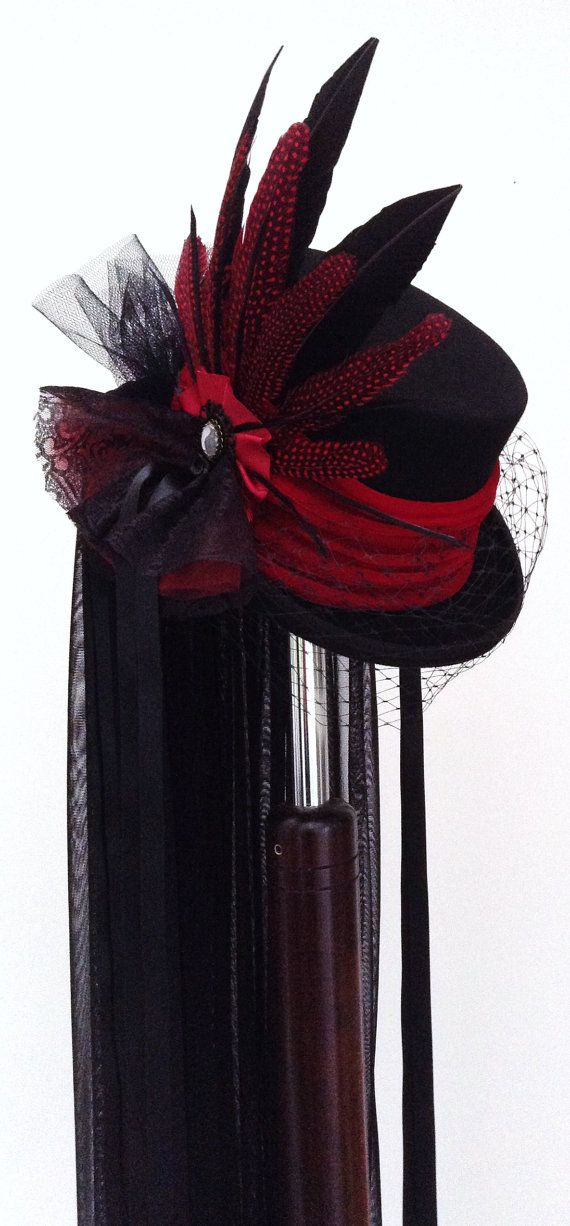 Gothic Victorian Raven black & red wedding hat by Blackpin on Etsy