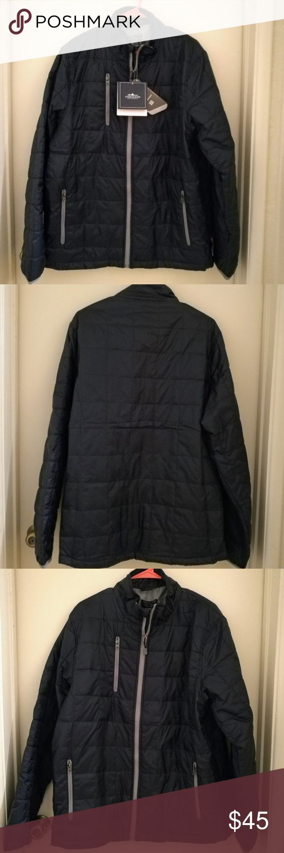 👔 Men's Quilted Packable Jacket Men's Quilted Packable Jacket - navy blue with grey details - elastic cuffs  - double front zippers  - thin and lightweight but surprisingly warm (see last photo) - can easily be folded/compressed quite flat for easy packing - Dobby Polyester shell and lining made from recycled bottles! Charles River Jackets & Coats
