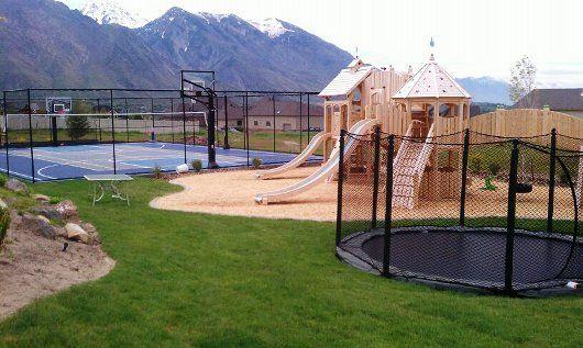 Sports court + Trampoline in the ground + Play ground = Dream backyard for kids: Playground, Dream Backyard, Backyard Landscaping, House Ideas, Dream House, Trampoline, Landscape, Sports Court