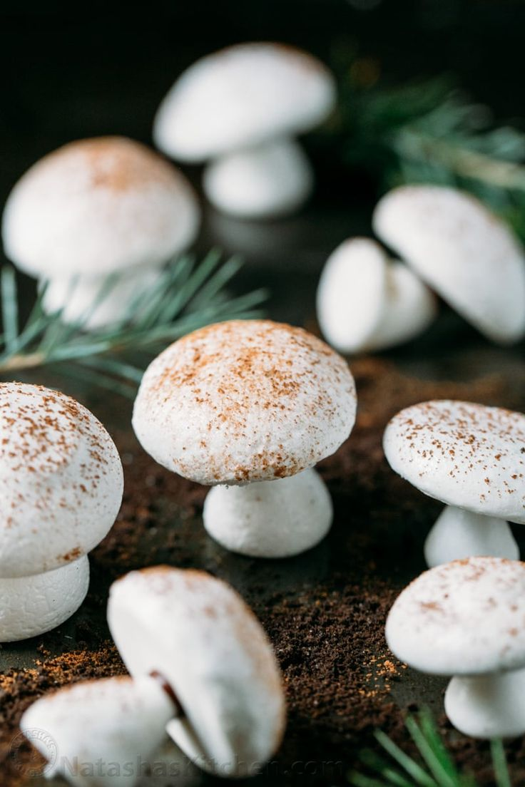 How to make a christmas yule log decoration - Meringue Mushrooms