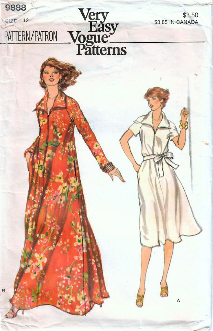 1970s Vogue 9888 Vintage Sewing Pattern Misses Long Robe