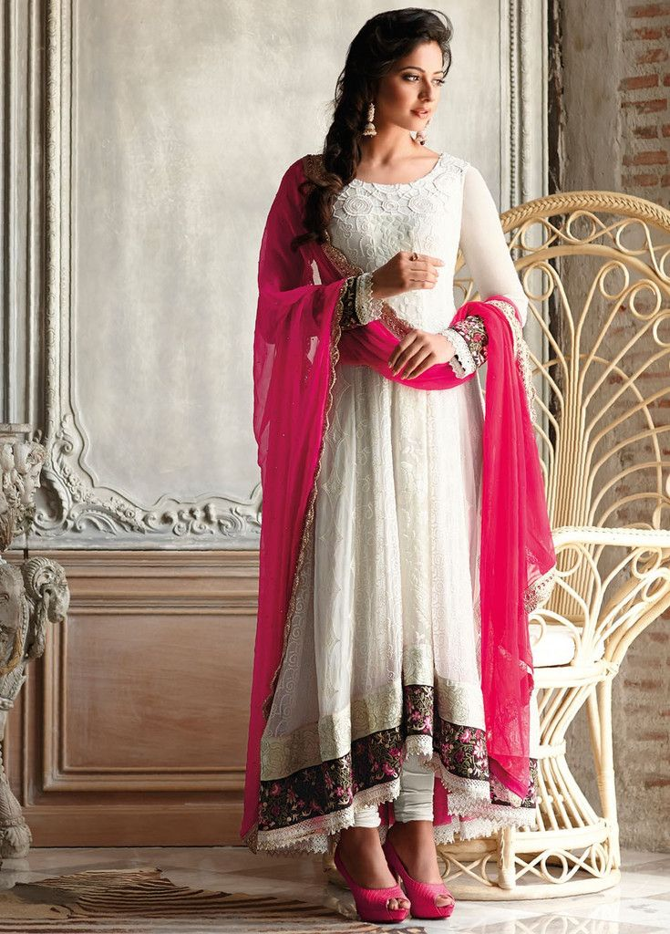 Preet White High Low Anarkali Suit
