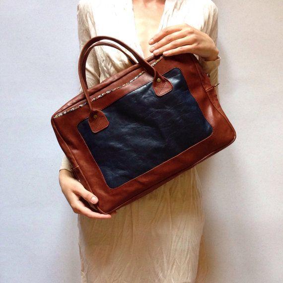 Leather Laptop Bag Padded Leather Laptop Bag by KaroEvaMaria