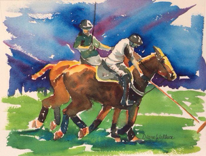"""Watercolor 7"""" x 9"""" $75 Polo, polo pony, polo player, horse, horses"""