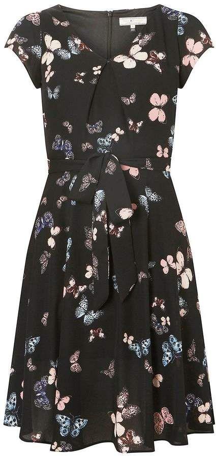 8f7cc2ee85d1d Billie & Blossom **Billie Blossom Black Butterfly Print Skater Dress ...