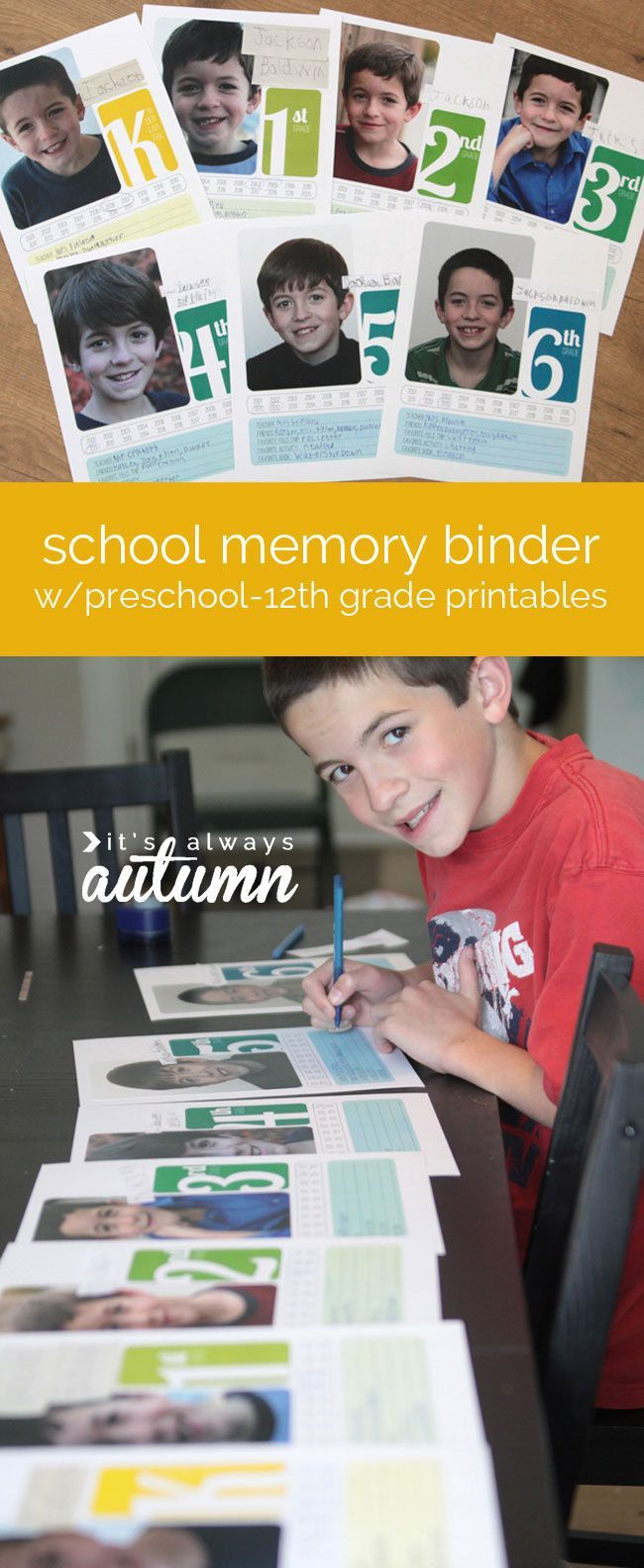 How to make scrapbook binder - Great Printables To Make A School Memory Binder To Organize Papers And Pictures From Preschool Through