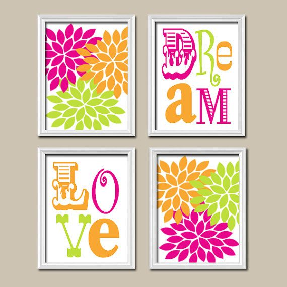 Colorful Bold Hot Pink Orange Lime Green Girl Love by trmDesign, $33.00