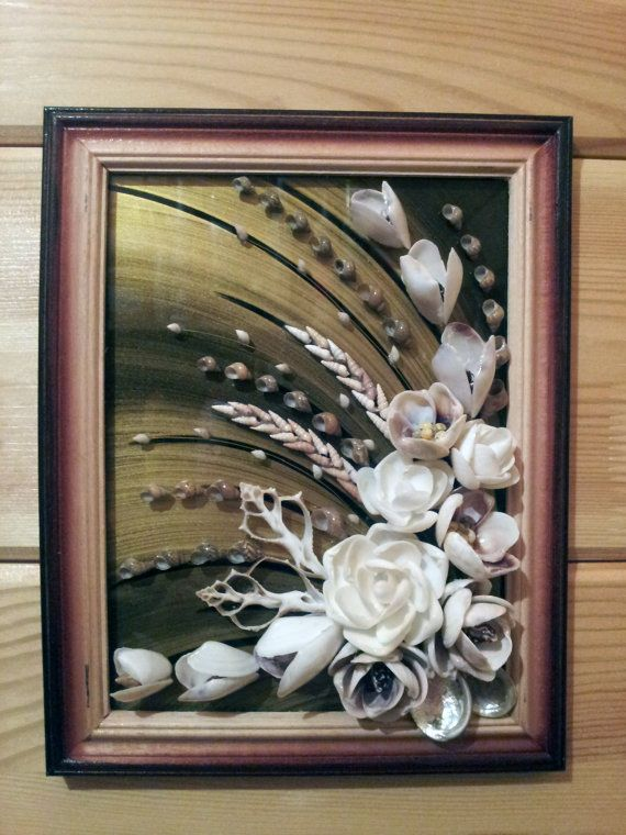 Sea shell flowers picture  bathroom by ArtFindsBoutique on Etsy