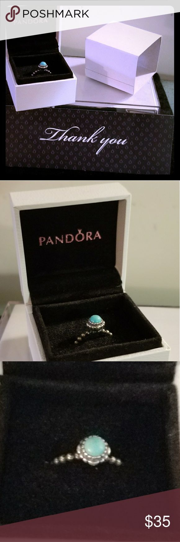 Pandora Birthstone Ring Turquoise Sterling Silver This Beautiful birthstone ring in turquoise is Sterling silver and is adorable because you can stack it with other rings of the same style or different style and I have a couple more available just for you in my store. If you are in dress and and another 1I will take another $5 off. You do get the Box with it as shown for no Extra dollars in some people wose these with $5 more just for the Box or even $10. Choice of gift set either this Box…