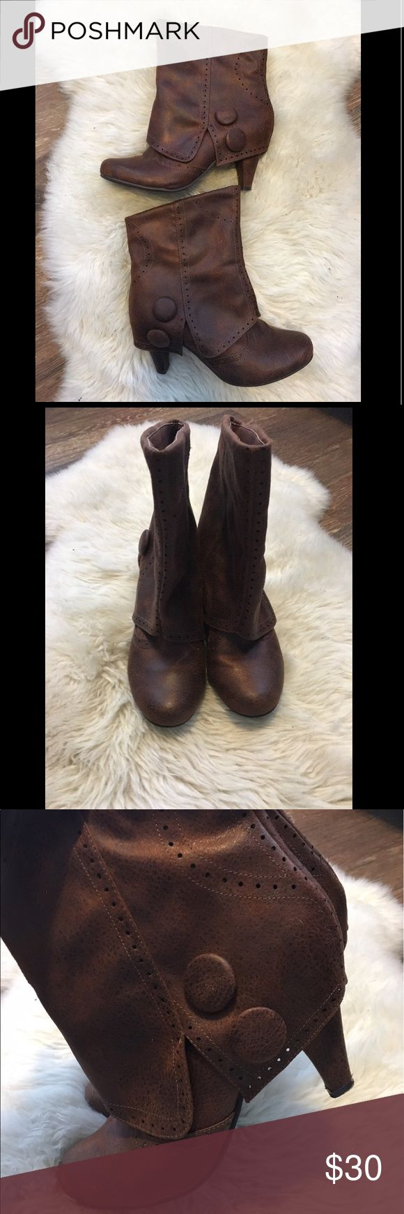 Not Rated Cowgirl Chukka Boots! Like new, brown chukka boots by Not Rated! Faux suede, heeled boot with outside button details. These are seriously comfortable and pair perfectly with skinny jeans! 9.5 but I'm a 9 and they fit very well. Thanks for looking! Not Rated Shoes Heeled Boots