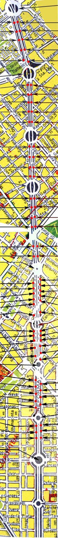 MAPA INTERACTIVO DE ESTATUAS DEL PASEO DE LA REFORMA,   MEXICO,localización, fotos y placas alusivas.