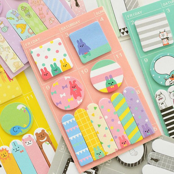 animal sticky notes, Cute sticky notes, animal notepad, kawaii sticky notes, pocket sticky note, desktop sticky notes