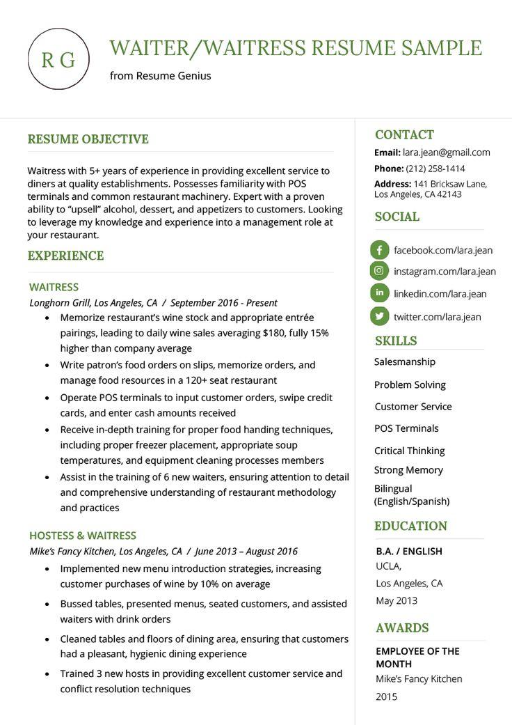 Waiter Resume Sample in 2020 Registered nurse resume