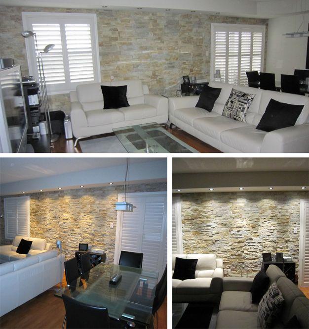 Recessed Lighting And Interior Stone Wall WallsStone Accent WallsBasement IdeasDiy