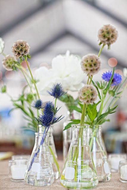Use beakers in the centerpiece for the science museum? I Love this idea