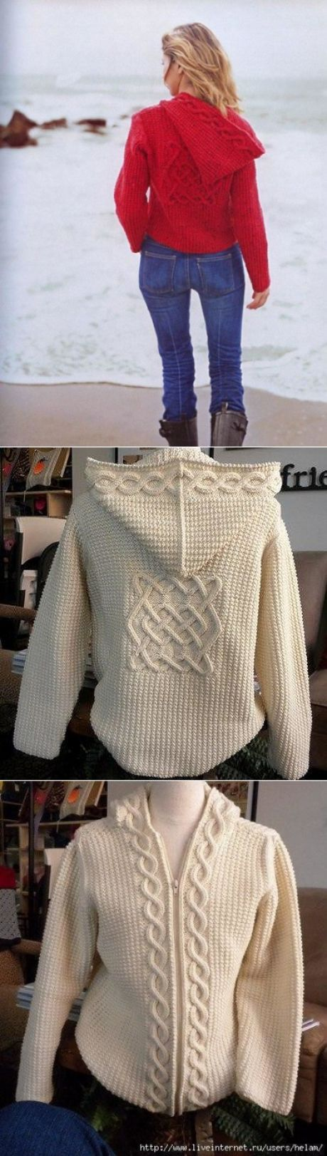Celtic crochet hooded jacket.