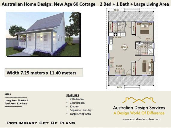 Small Cottage House Plan 59 M2 Living Area Or Total 82 65 M2 Etsy In 2021 House Plans Australia Small Cottage House Plans Cottage House Plans