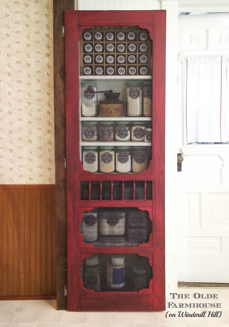The Olde Farmhouse On Windmill Hill: DIY Farmhouse Pantry Using Vintage  Repurposed Screen Door !