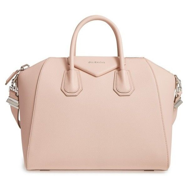 Women's Givenchy 'Medium Antigona' Sugar Leather Satchel ($2,435) ❤ liked on Polyvore featuring bags, handbags, nude pink, nude handbags, leather handbags, nude purses, satchel purses and givenchy purse