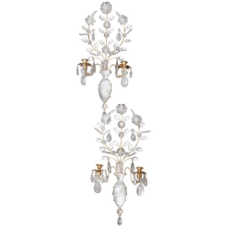 Pair of French Louis XVI Style Gilt Bronze & Cut Rock Crystal Sconces #ModernsPIN